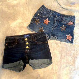 2 Pairs Arizona Girls size 8 Jean Shorts